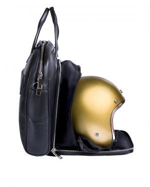 Black leather Briefcase & Helmet bag
