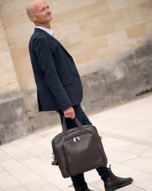 Brown leather Briefcase & Helmet bag