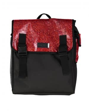 Red western leather Backpack & Helmet bag
