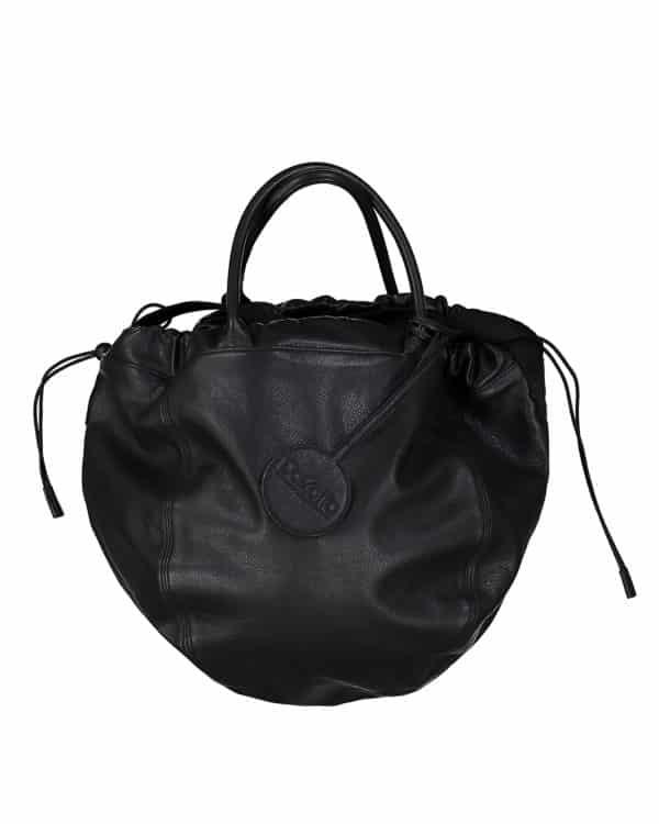 Le SANDRINE sac rond cuir noir