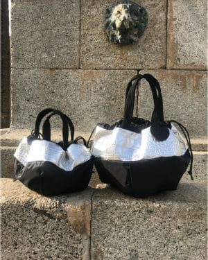 Petit sac rond cuir croco