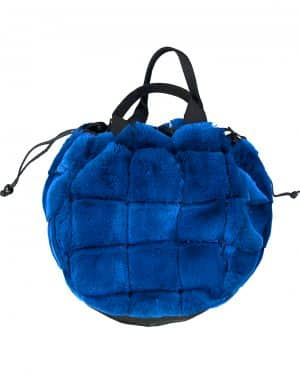 Blue fur Hand bag