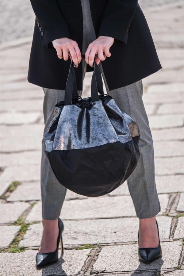 Sac LOVE AFFAIR en cuir pailleté gris